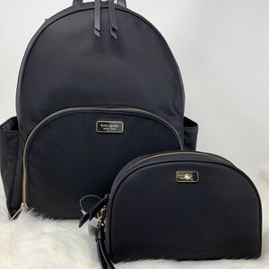 Kate spade Large Backpack dawn black pouch set new